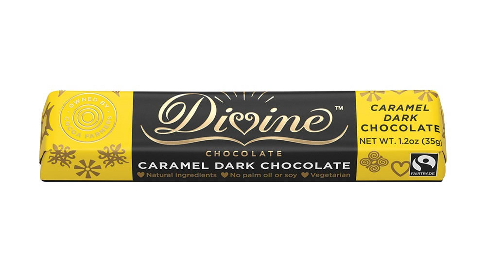 Divine Chocolate: Caramel Dark Chocolate Snack Bar, 1.2 oz