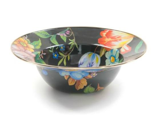 MacKenzie-Childs - Flower Market Enamel Serving Bowl - Black