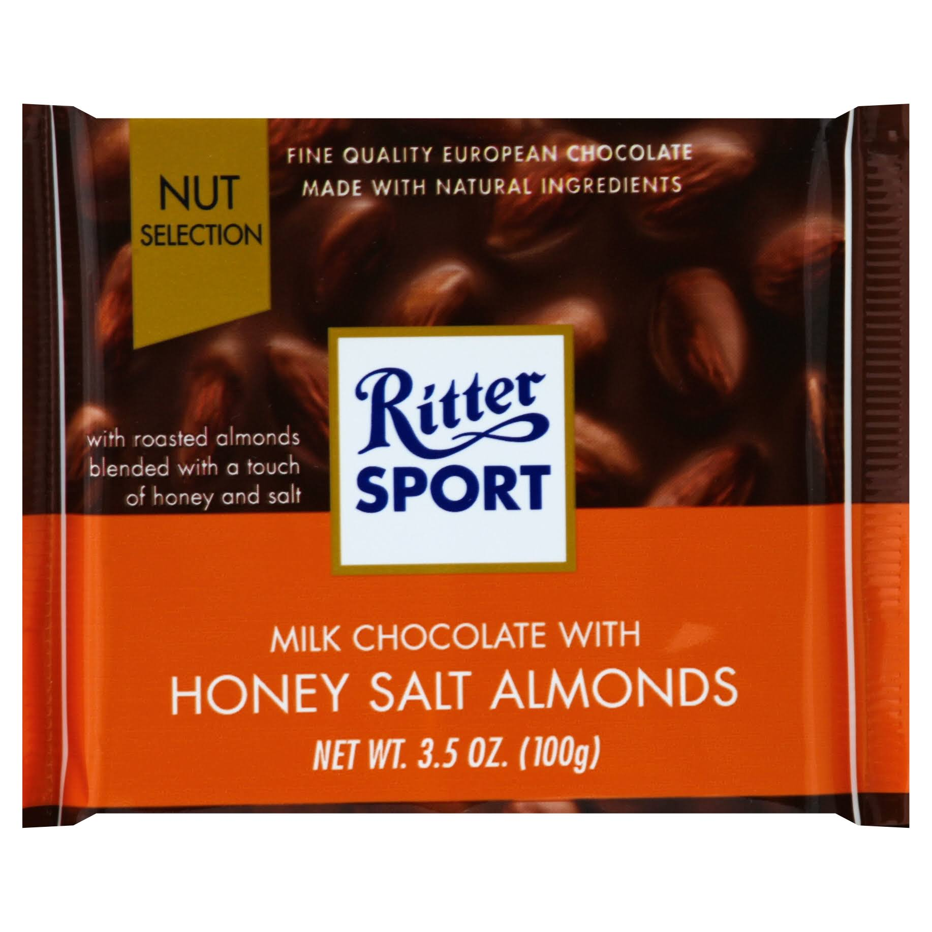 Ritter Sport Milk Chocolate, with Honey Salt Almonds, Knick-Pack - 3.5 oz