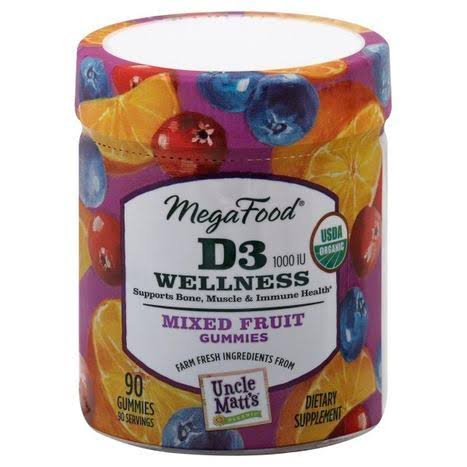 MegaFood D3 1000 IU Wellness Gummies - Mixed Fruit, 90 Gummies