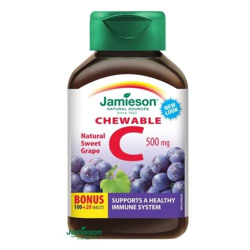 Jamieson Vitamin C Chewable Formula Supplement - 500mg, Grapes, 120 Tablets