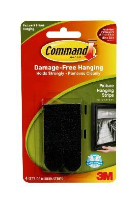 Command Medium Picture Hanging Strips - Black, 4strip