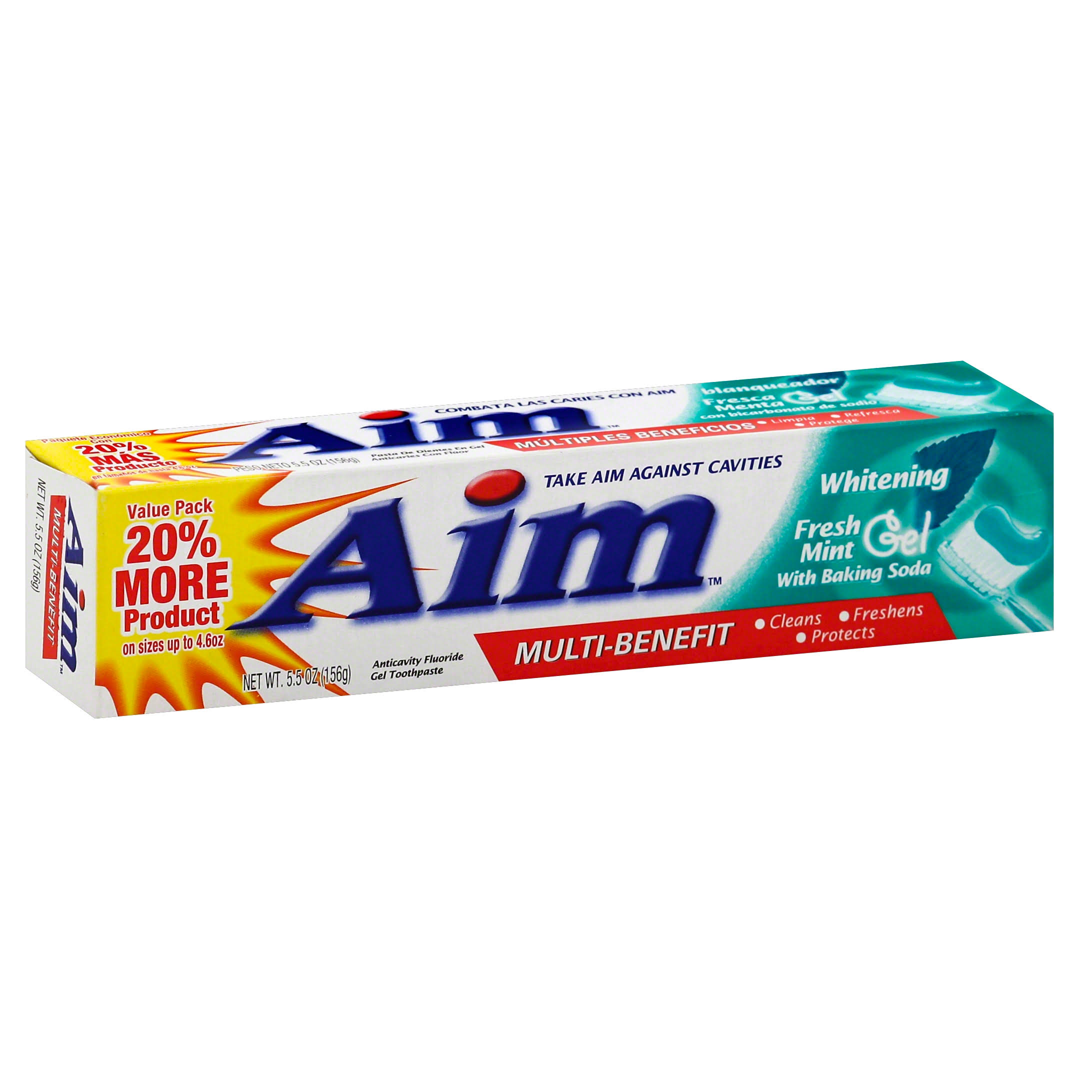 Aim Whitening Gel Toothpaste - 5.5oz, Fresh Mint