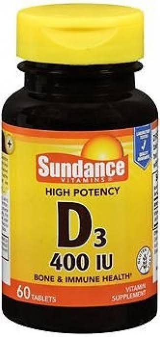 Sundance Vitamins High Potency D3 400 IU Vitamin Supplement - 60 Tablets, Ivory