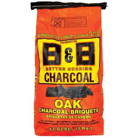 B&B Charcoal Briquets, Oak, Texas Style - 17.6 lbs (8 kg)