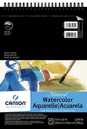 "Canson Watercolor Pads - 12 Sheets, 9"" X 12"", Top Spiral Bound"