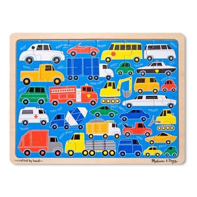 Melissa and Doug Wooden Jigsaw Puzzle - Beep Beep, 24pcs