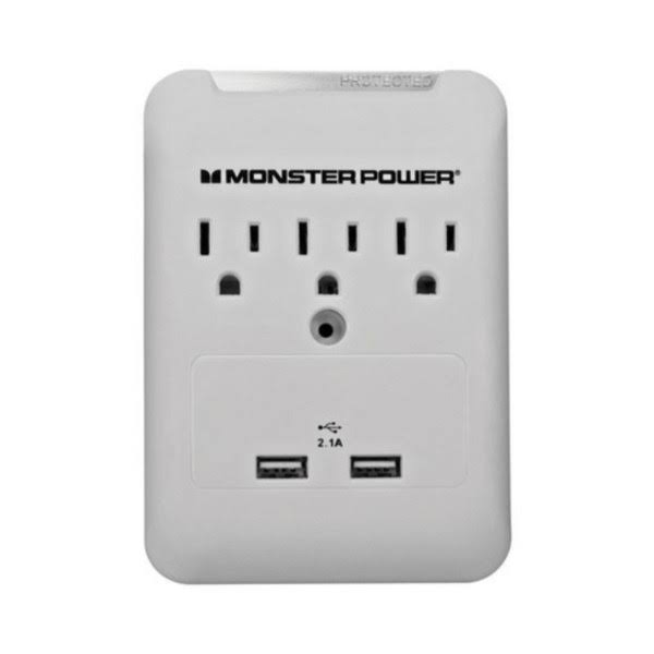Monster Surge Protection Wall Tap USB and Three Outlet - White, 6000V, 540 Joule