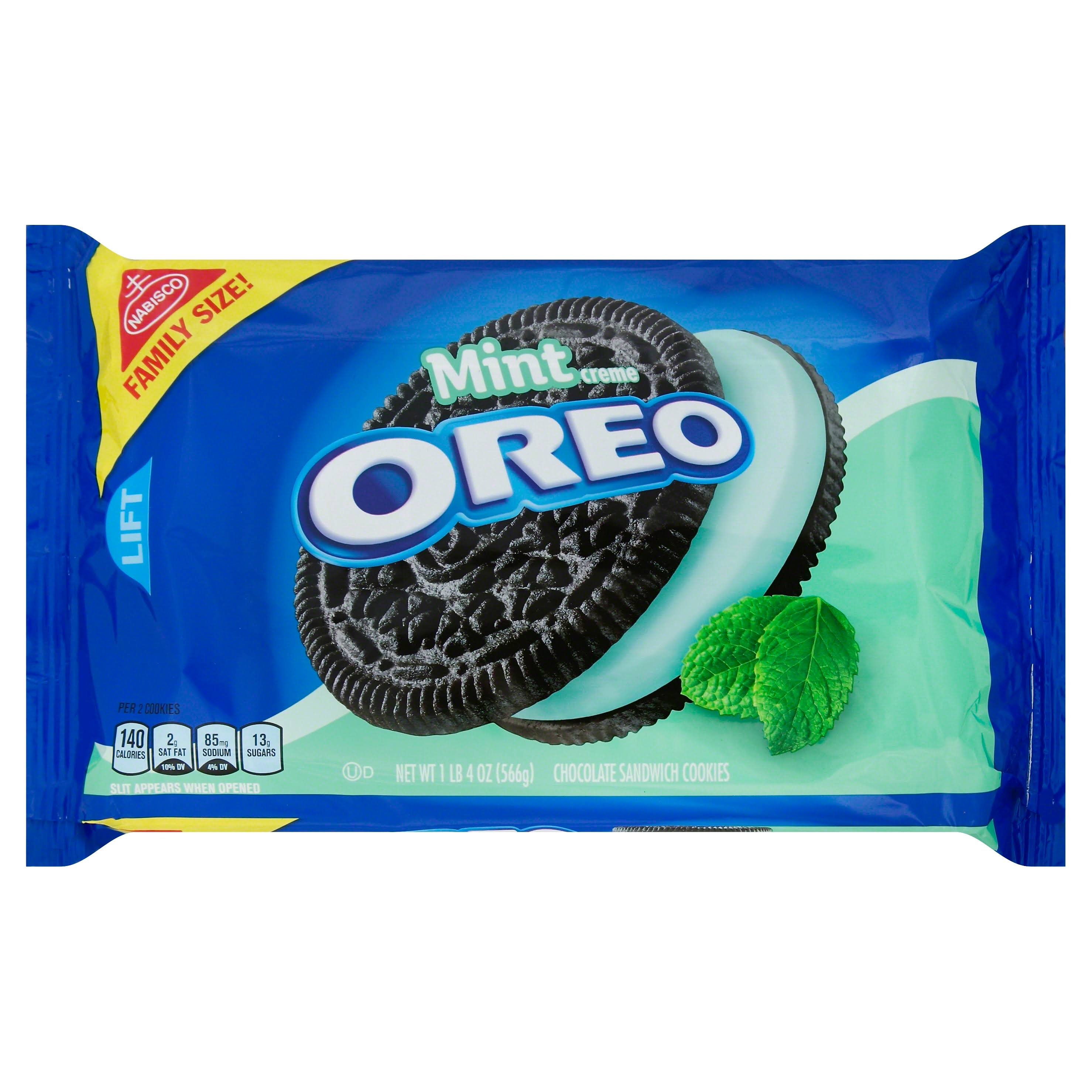Nabisco Oreo Mint Creme Chocolate Sandwich Cookies - Family Size, 20oz