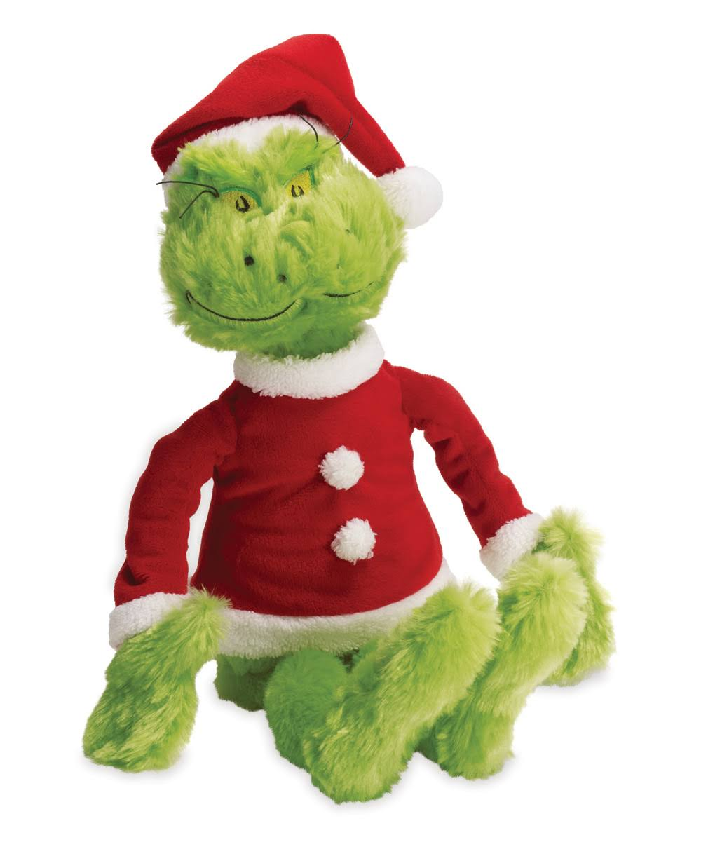 The Grinch in Santa Suit Dr. Suess Stuffed Animal Manhattan Toy - 15""