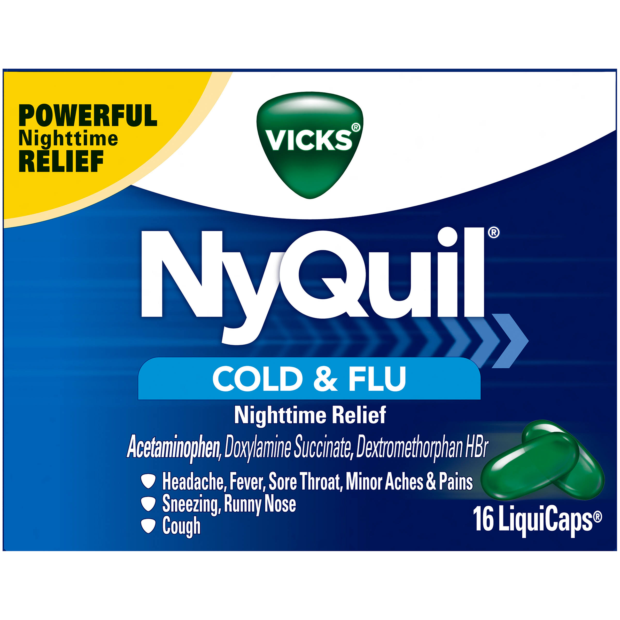 Vicks Nyquil Cold & Flu Nighttime Relief - 16 Liqiud Capsules