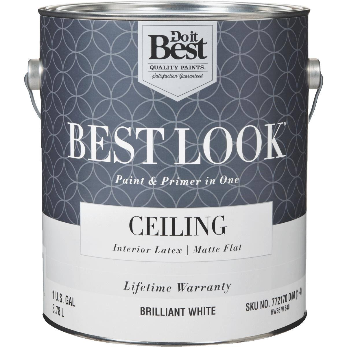 Best Look Latex Flat Brilliant Paint and Primer - Brilliant White, 1 Gallon