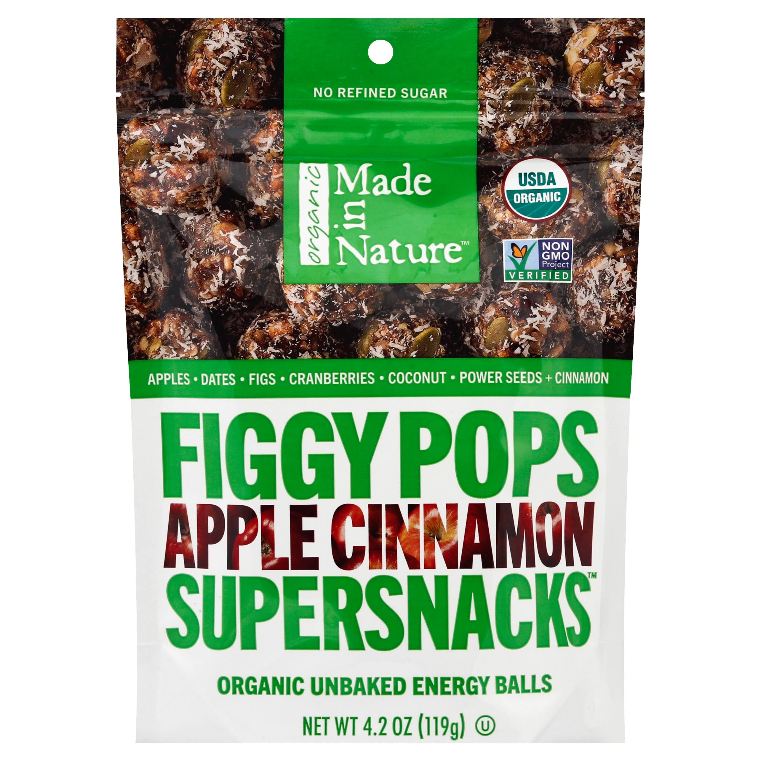 Made In Nature Organic Figgy Pops, Apple Cinnamon Supersnacks - 4.2 oz
