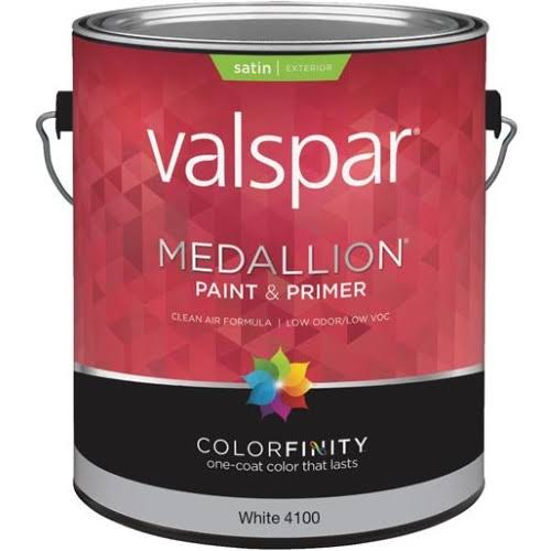 Valspar Medallion Exterior Satin Latex House Paint - 1 Gallon, White