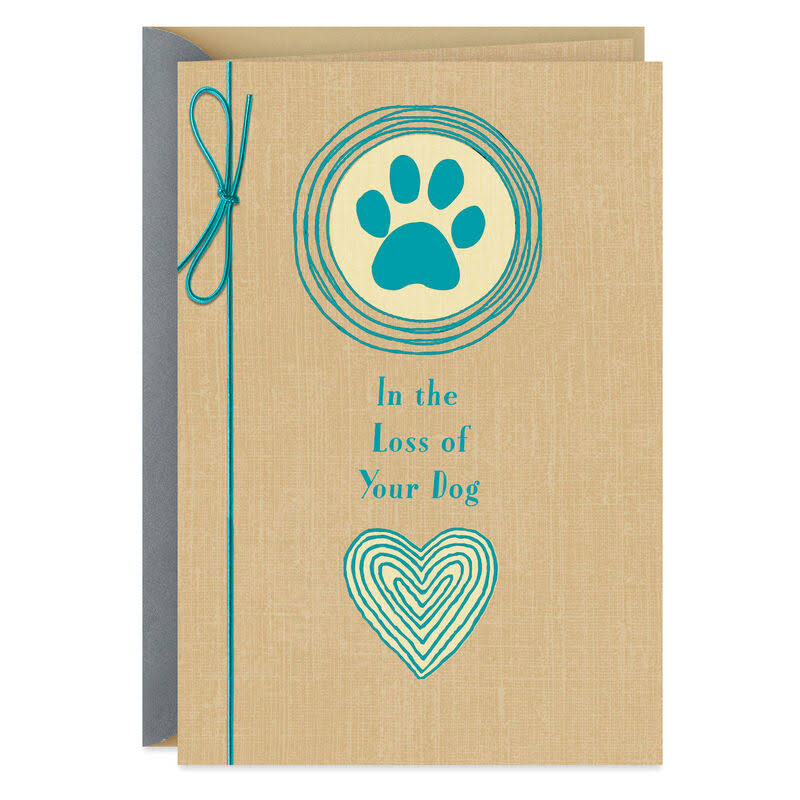 Paw Print with Heart Pet Sympathy Card for Loss of Dog