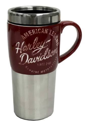 Harley-Davidson Heritage Ceramic Stainless Steel Travel Cup, Silver & Burgundy