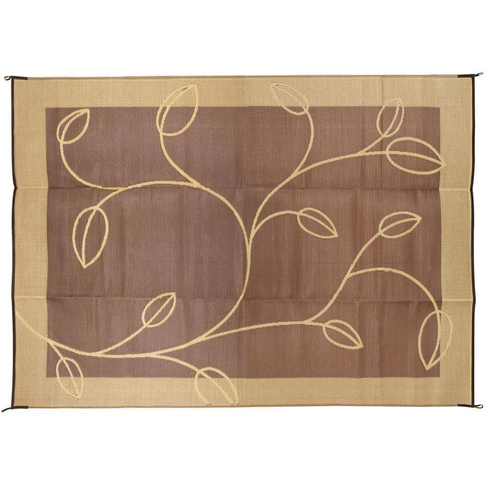 Camco 42855; Outdoor Mat 9-foot X12-Foot Leaf Brown/Tan