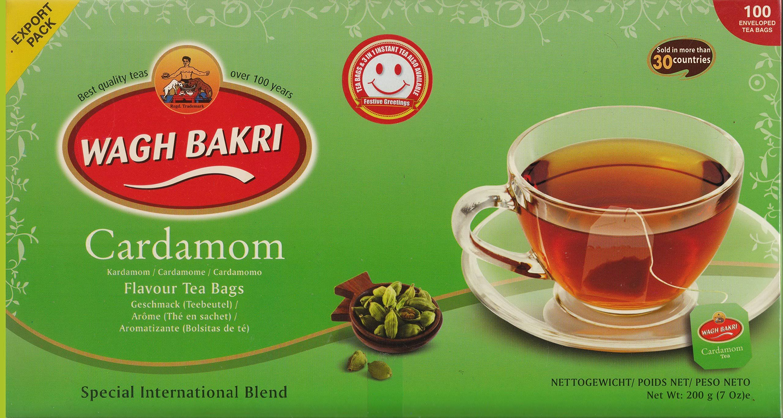 Wagh Bakri Cardamom Natural Flavour Tea Bags 100 Enveloped
