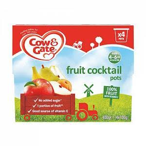Cow & Gate Fruit Cocktail Fruit Puree Pots - 4ct, 100g