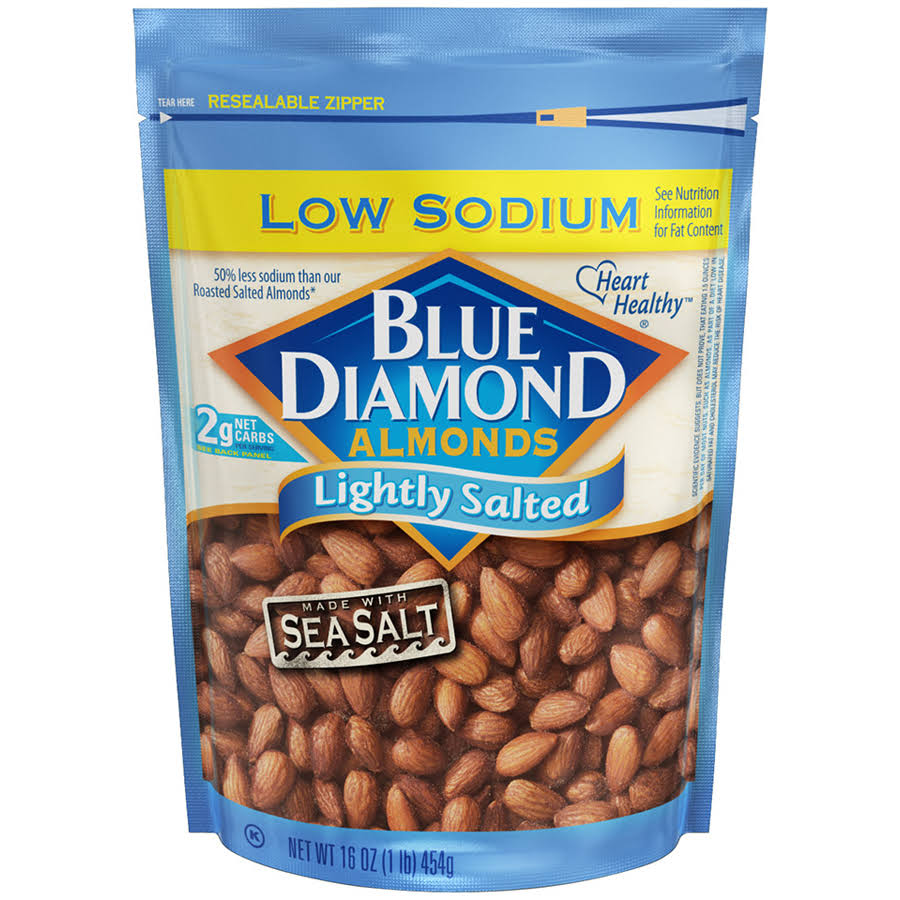 Blue Diamond Low Sodium Lightly Salted Almonds - Sea Salt, 16oz