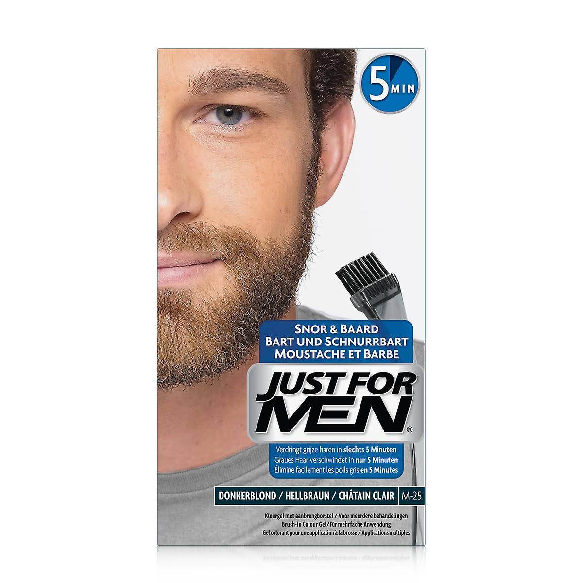 Just For Men Moustache and Beard Brush In Colour Gel - Light Brown