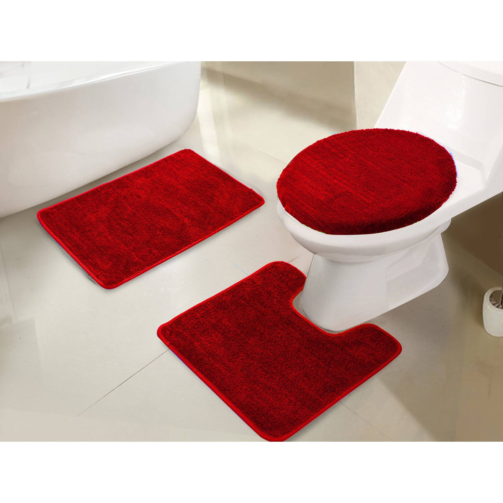 RT Designers Collection Imperial 3 Piece Bath Rug Set Red