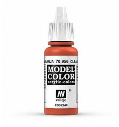 Vallejo Model Colors Acrylic Paint - 025 Clear Orange