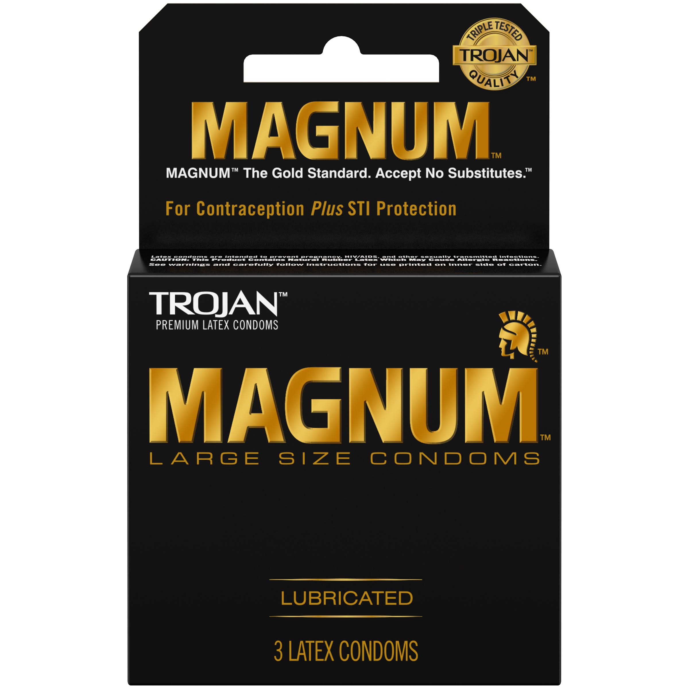 Trojan Magnum Lubricated Premium Latex Condoms - Large Size, 3 Pack