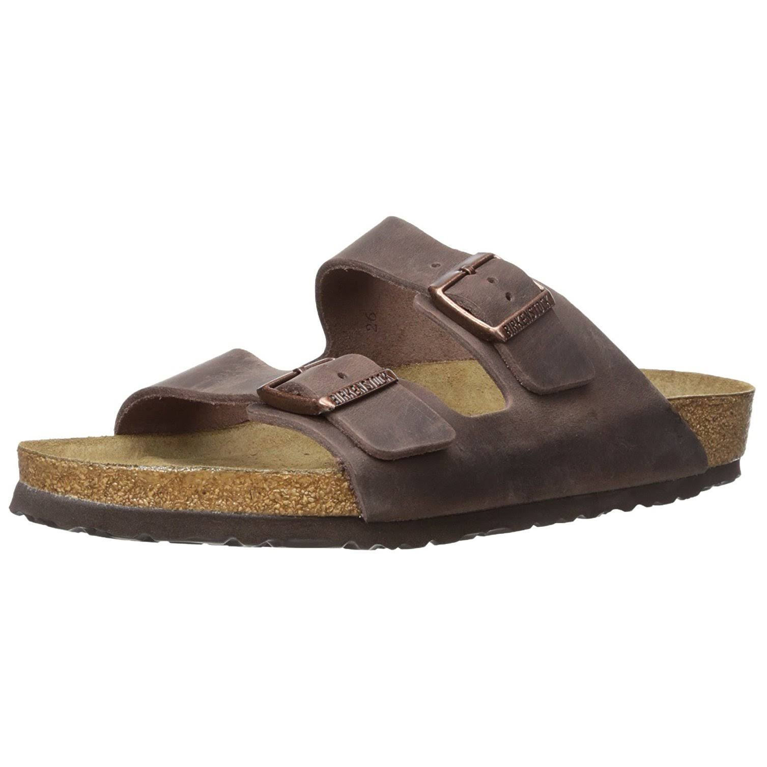 Birkenstock Unisex Arizona Habana Oiled Leather Sandals - Brown, 7.5 US
