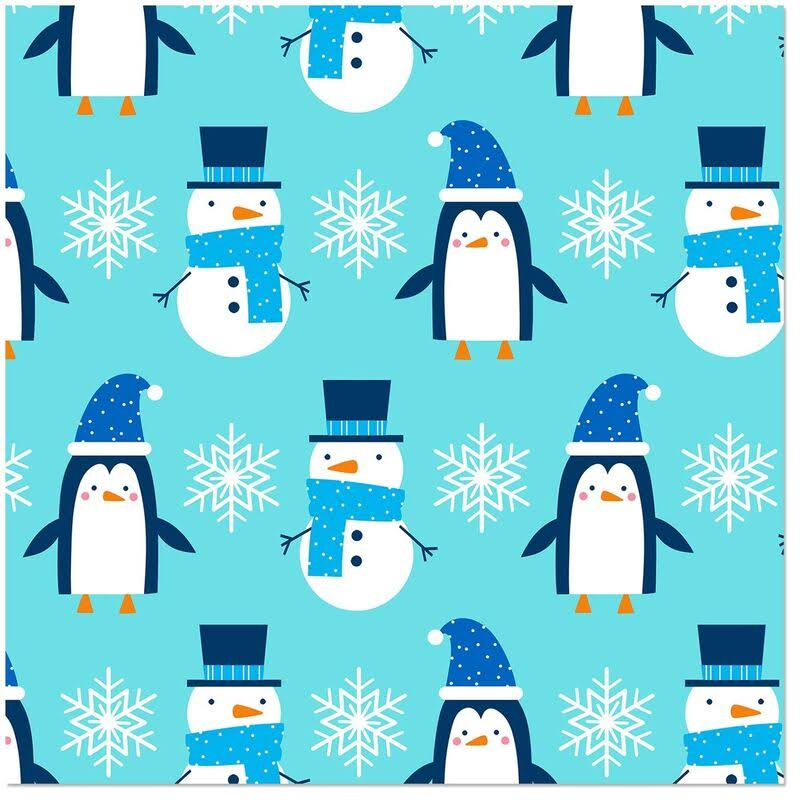 Snowmen and Penguins Jumbo Roll Wrapping Paper, 100 Sq. ft.