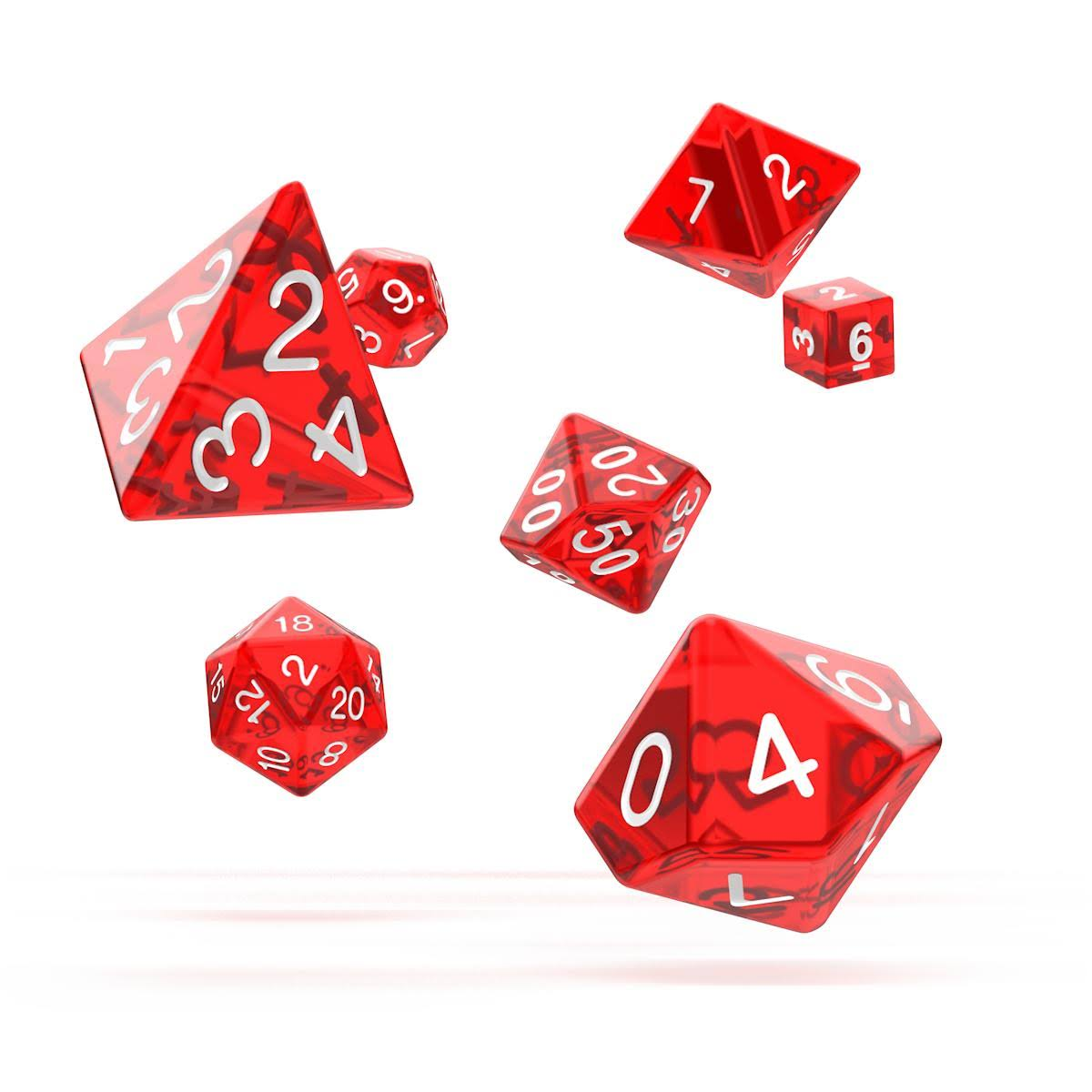 Oakie Doakie Dice - RPG Set Translucent - Red (7)