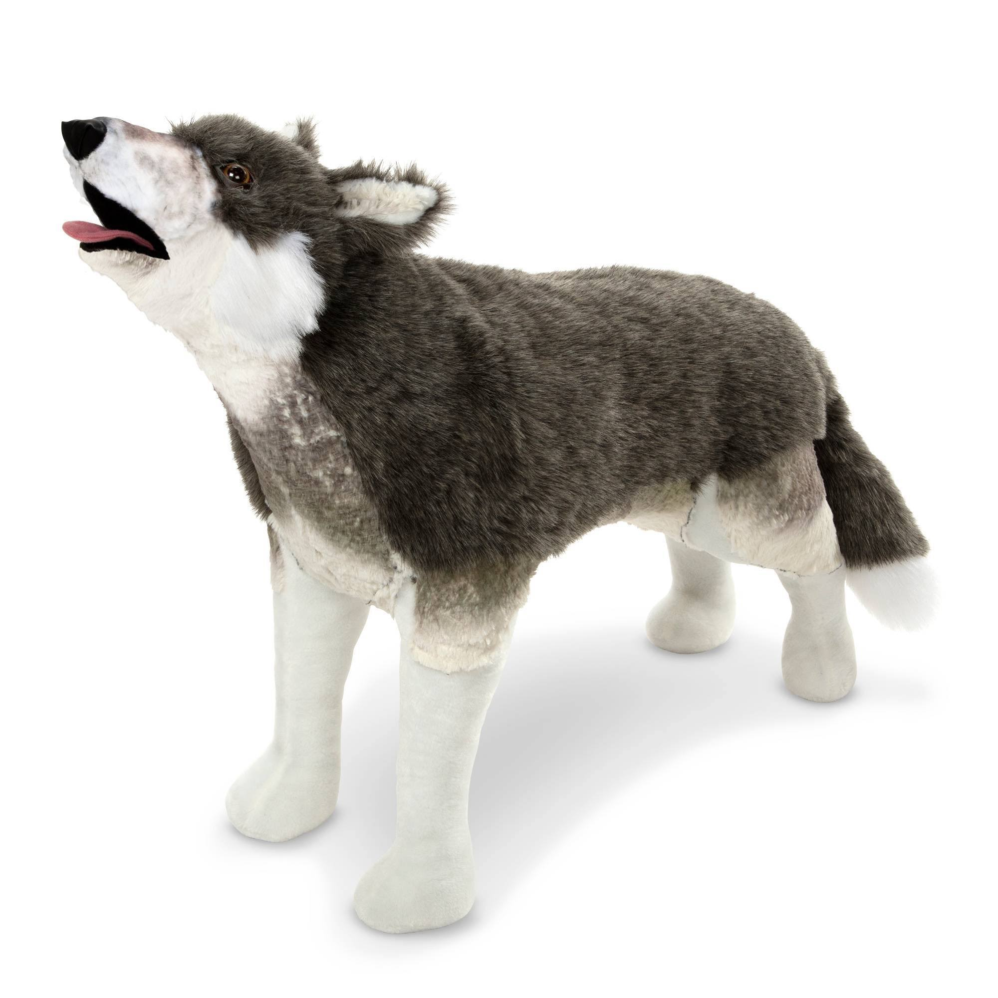Melissa & Doug Giant Lifelike Plush Gray Wolf Standing Stuffed Animal