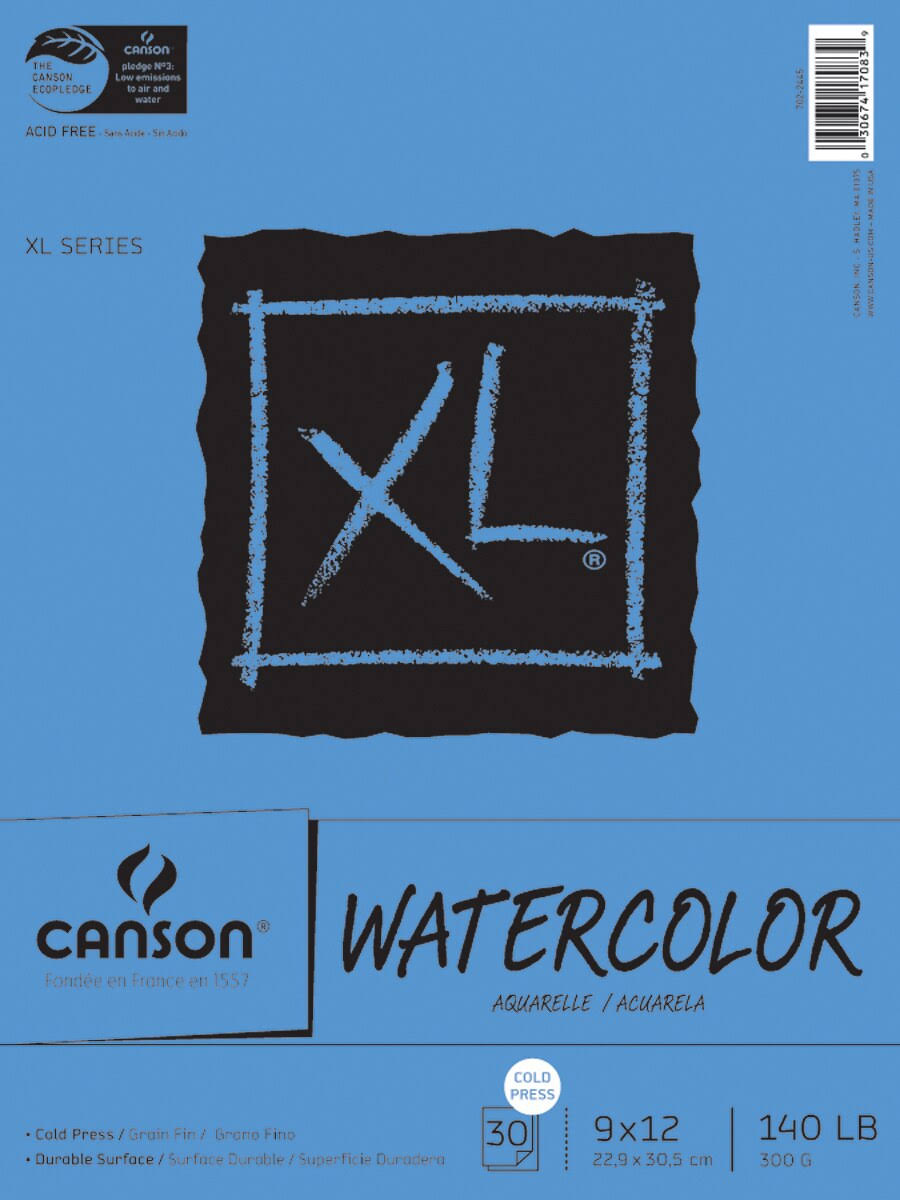 "Canson Watercolor Paper Pad - 9"" x 12"", 30 Sheets"