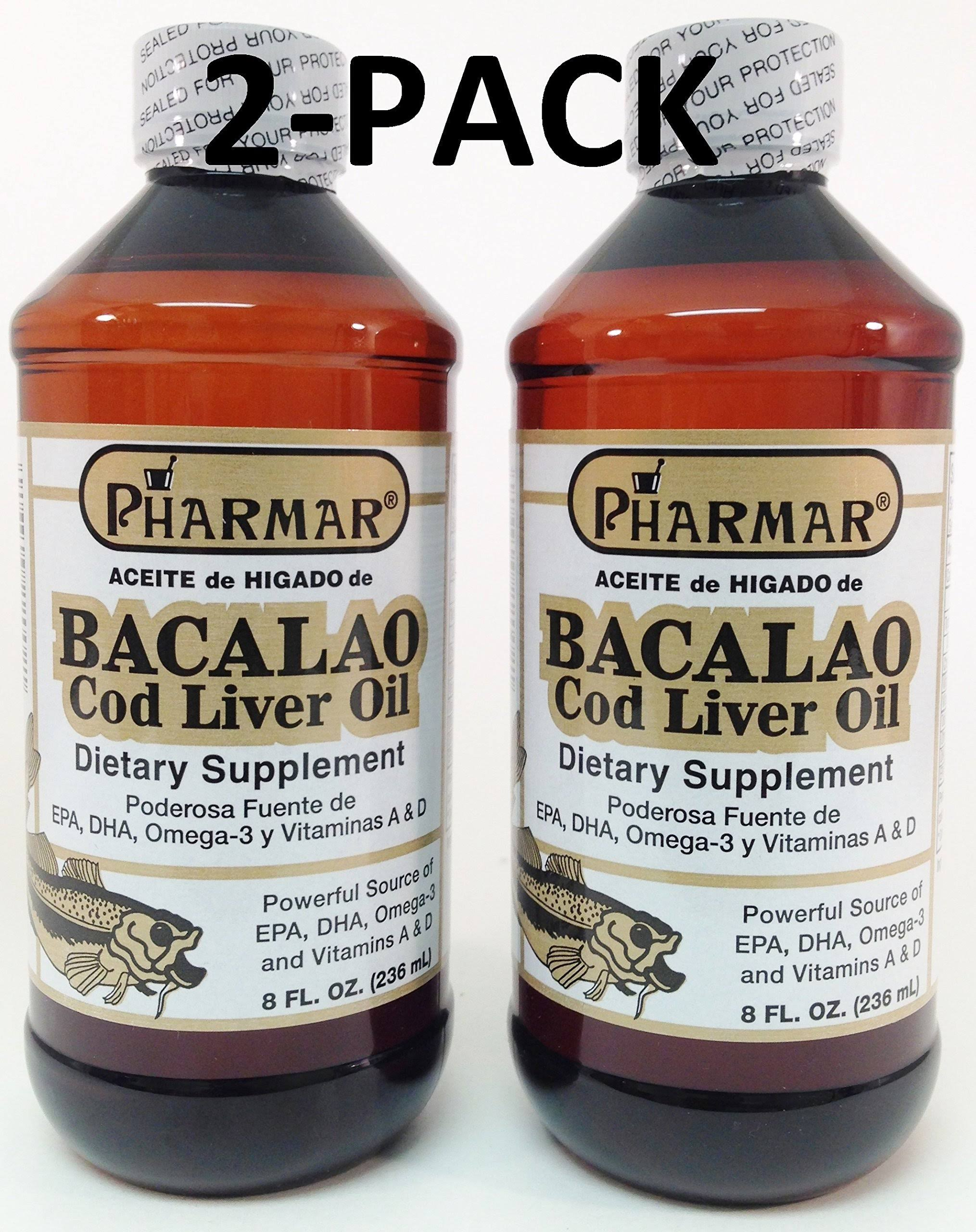 Aceite De Higado De Bacalao Cod Liver Oil Dietary Supplement - 8oz, 2pk