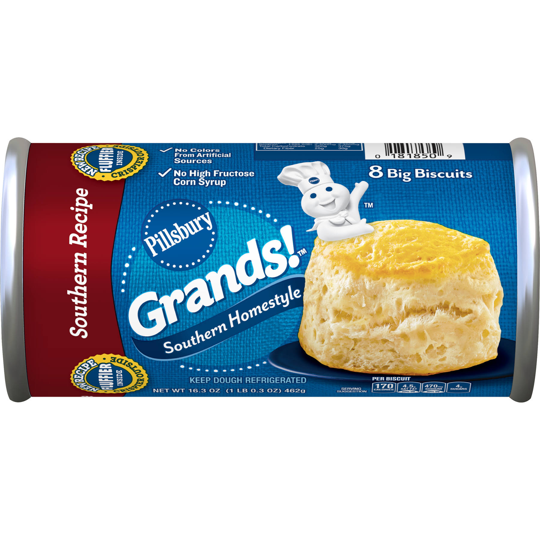 Pillsbury Grands Homestyle Big Biscuits - Southern Recipe, 8 Big Biscuits, 462g