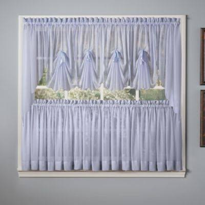 Emelia Sheer Blue 36 inch Kitchen Curtain Tier