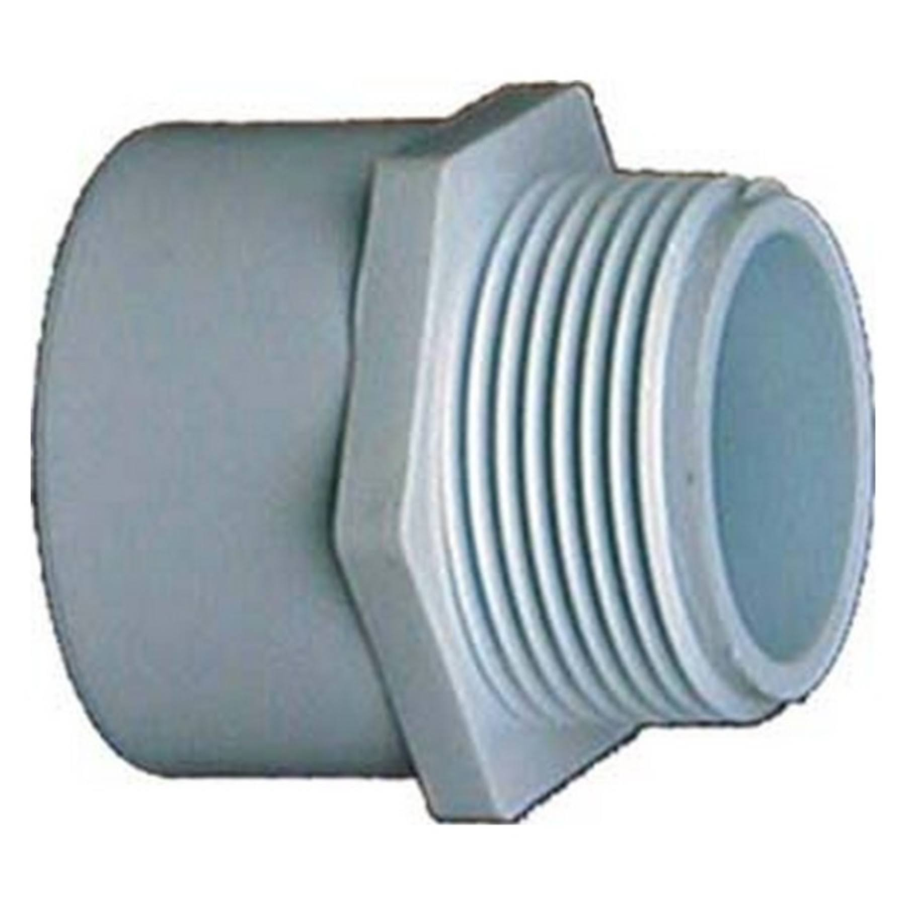 "Genova 30476 PVC Pressure Pipe Fitting Reducing Adapter - White, Male, 3/4"" X 1"""