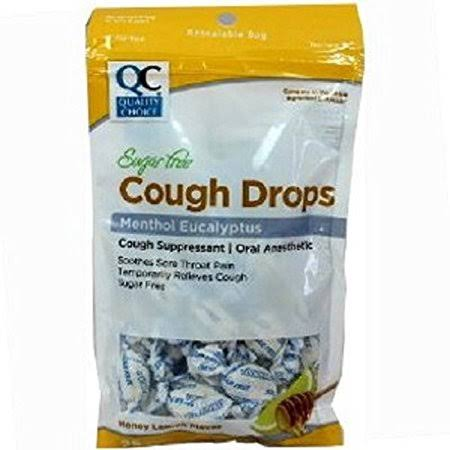 Quality Choice Menthol Eucalyptus Cough Drops - Honey Lemon Flavor, 30pk