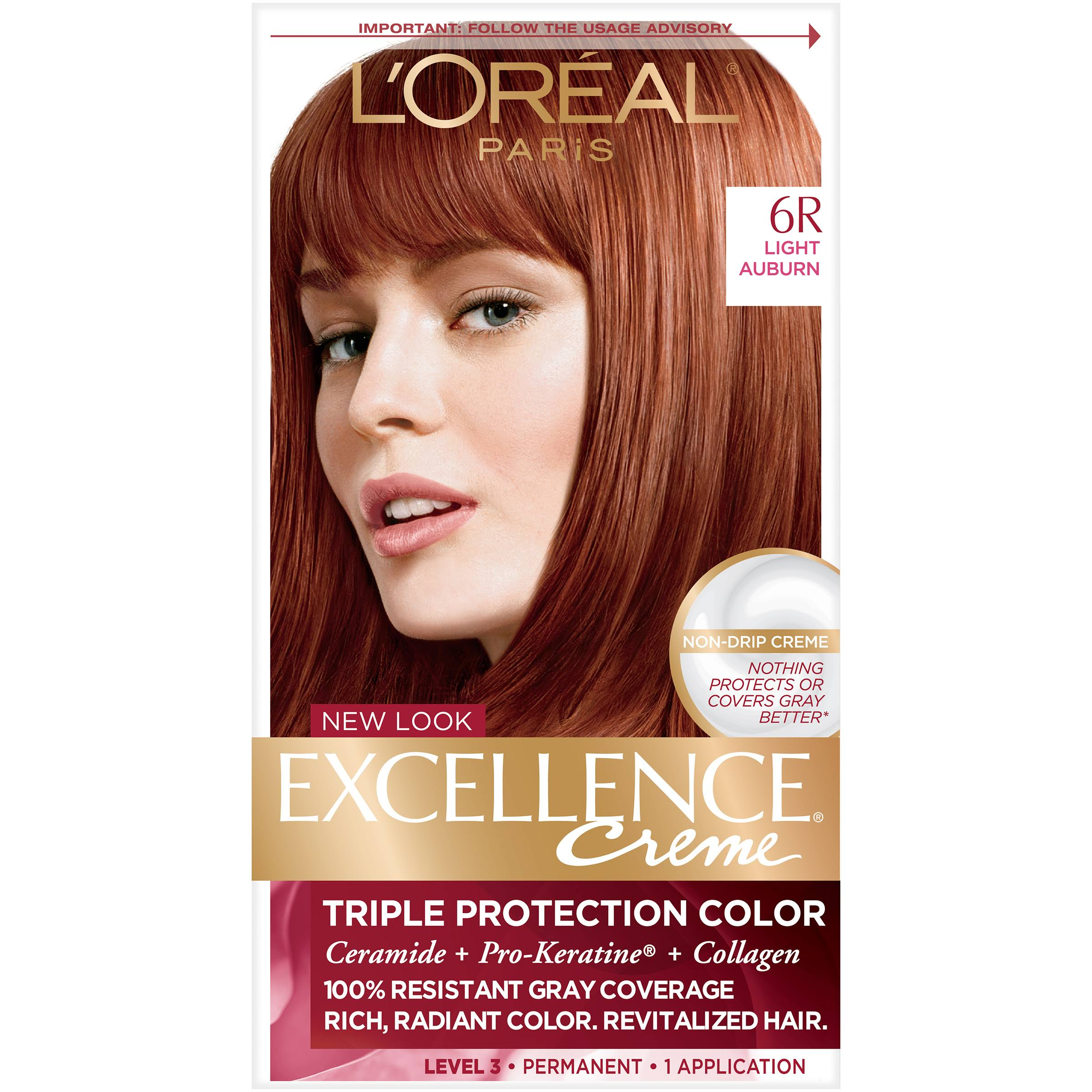 L'Oréal Paris Excellence Creme Permanent Hair Color - 6R Light Auburn