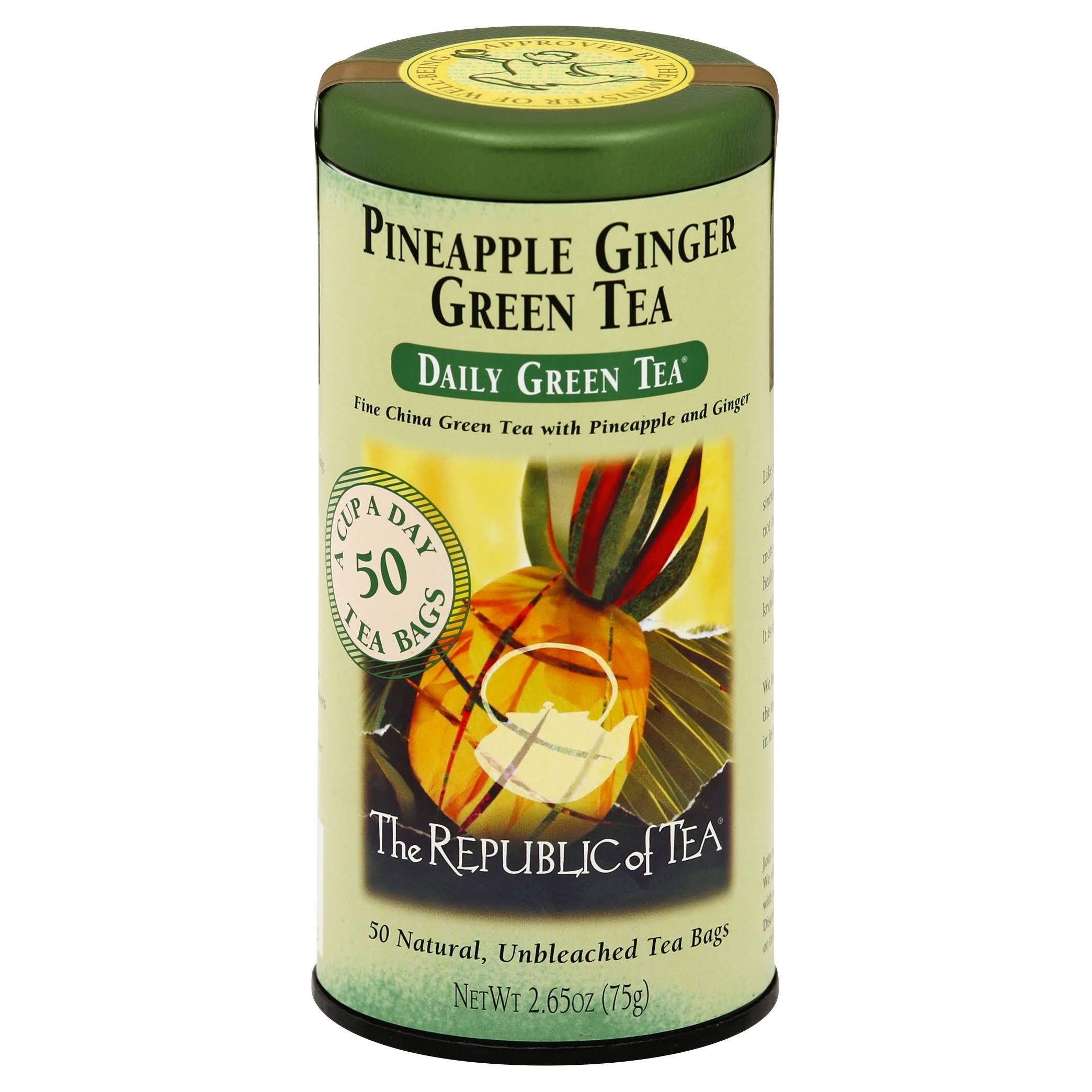 The Republic Of Tea Green Tea - Pineapple Ginger, 50 Tea Bags