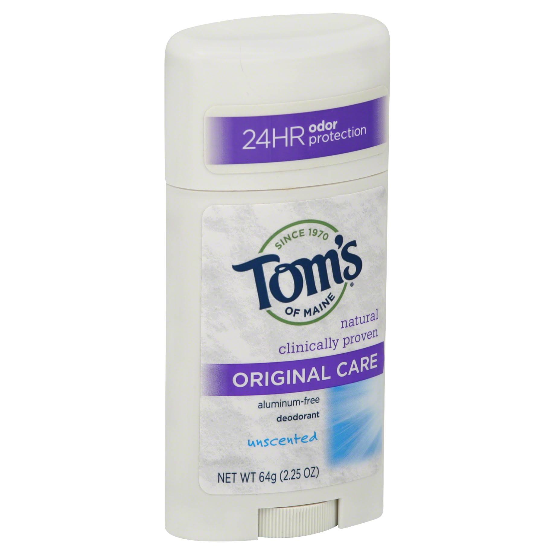Toms of Maine Deodorant, Original Care, Unscented - 2.25 oz