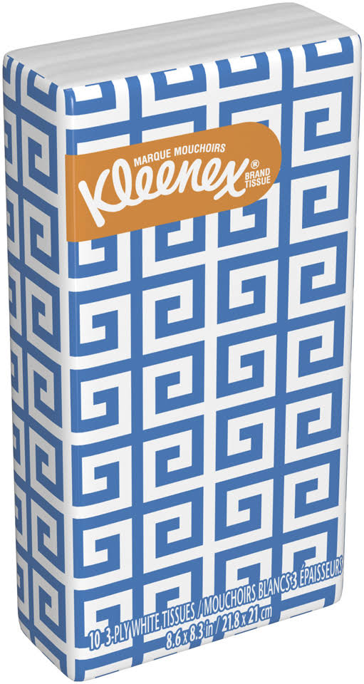 Kleenex Tissues, White, Rainfall Blue, 3 Ply - 10 tissues