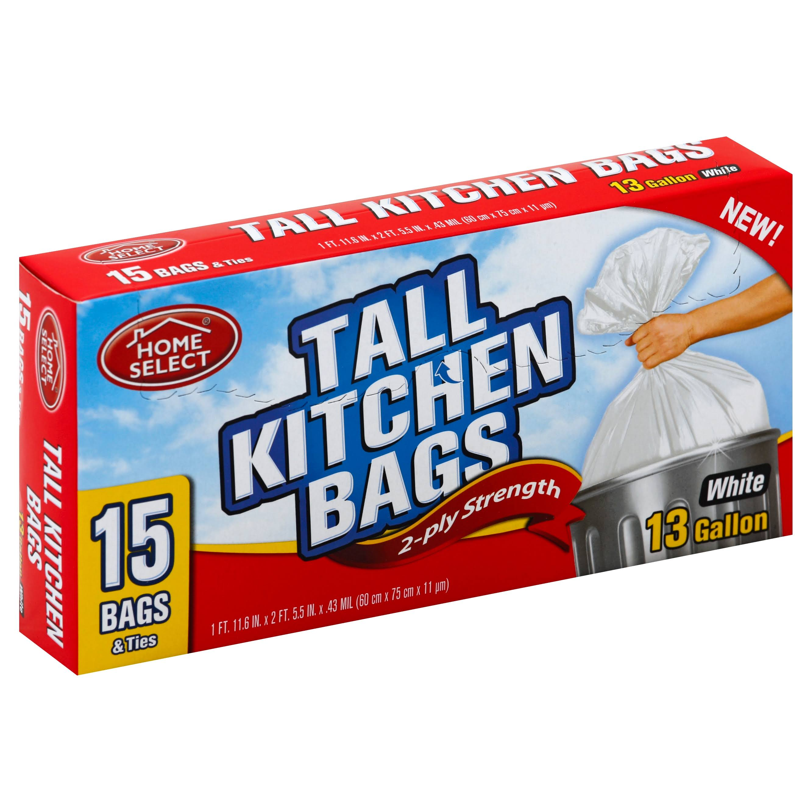 Home Select Tall Kitchen Bags, 2-Ply Strength, White, 13 Gallon - 15 bags & ties