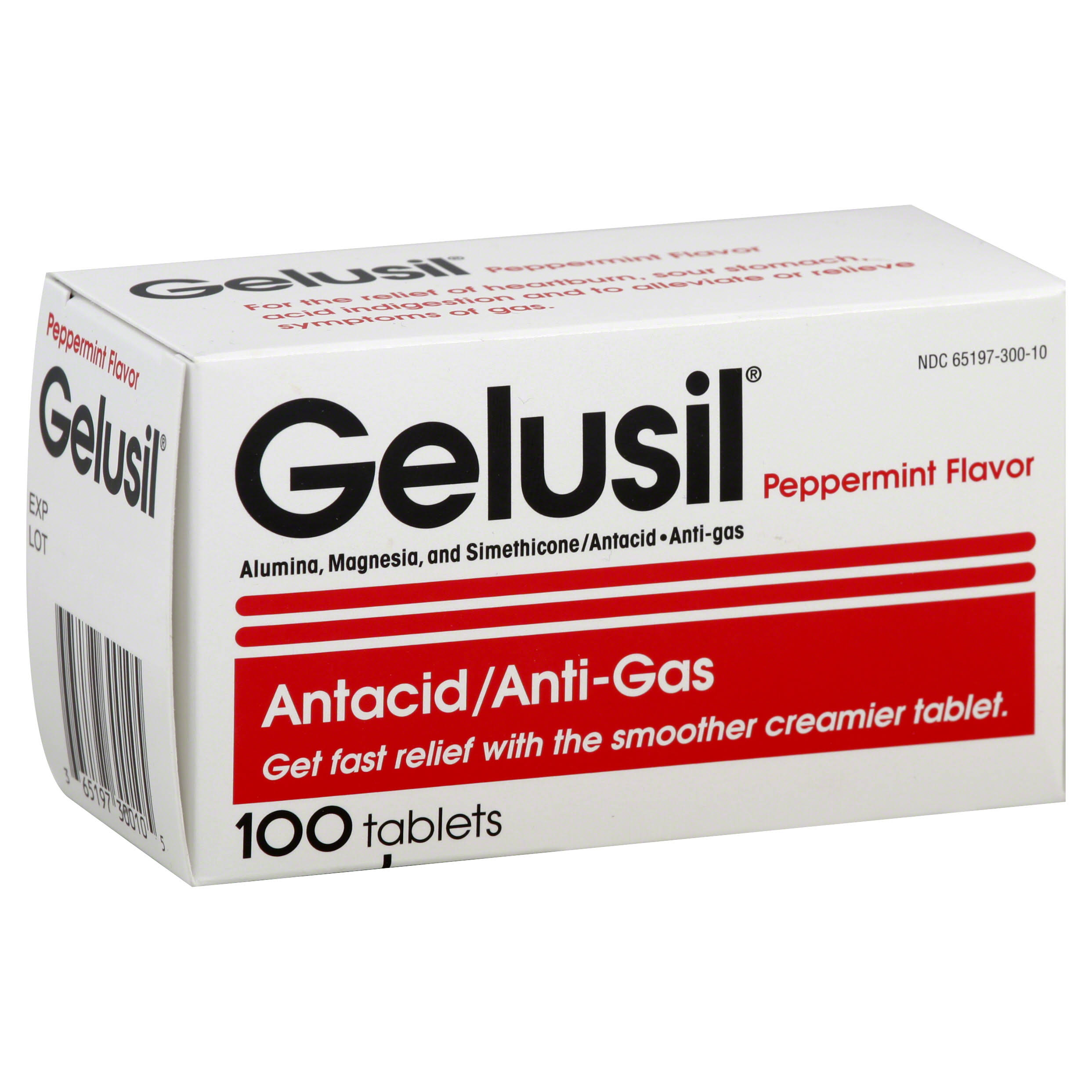 Gelusil Antacid & Anti Gas Chewable Tablets - Cool Mint