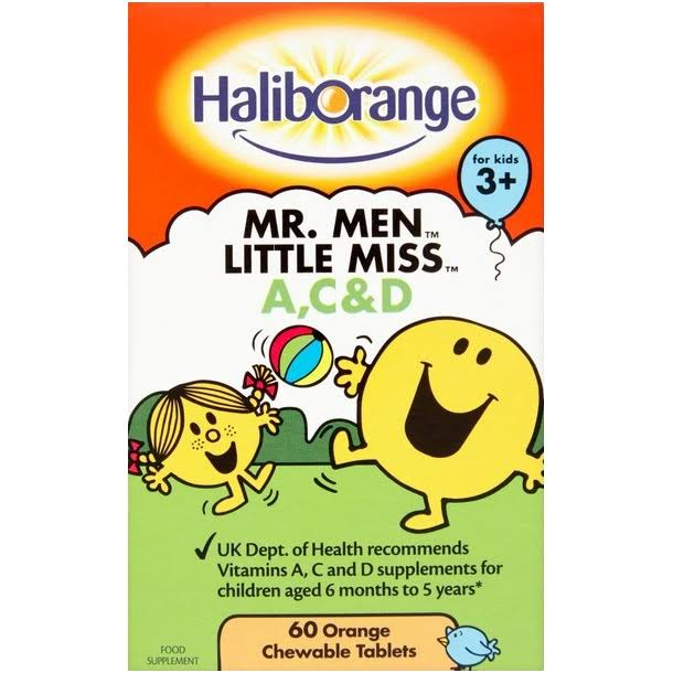 Haliborange Vitamins A, C and D Orange Chewable Tablets - 60ct