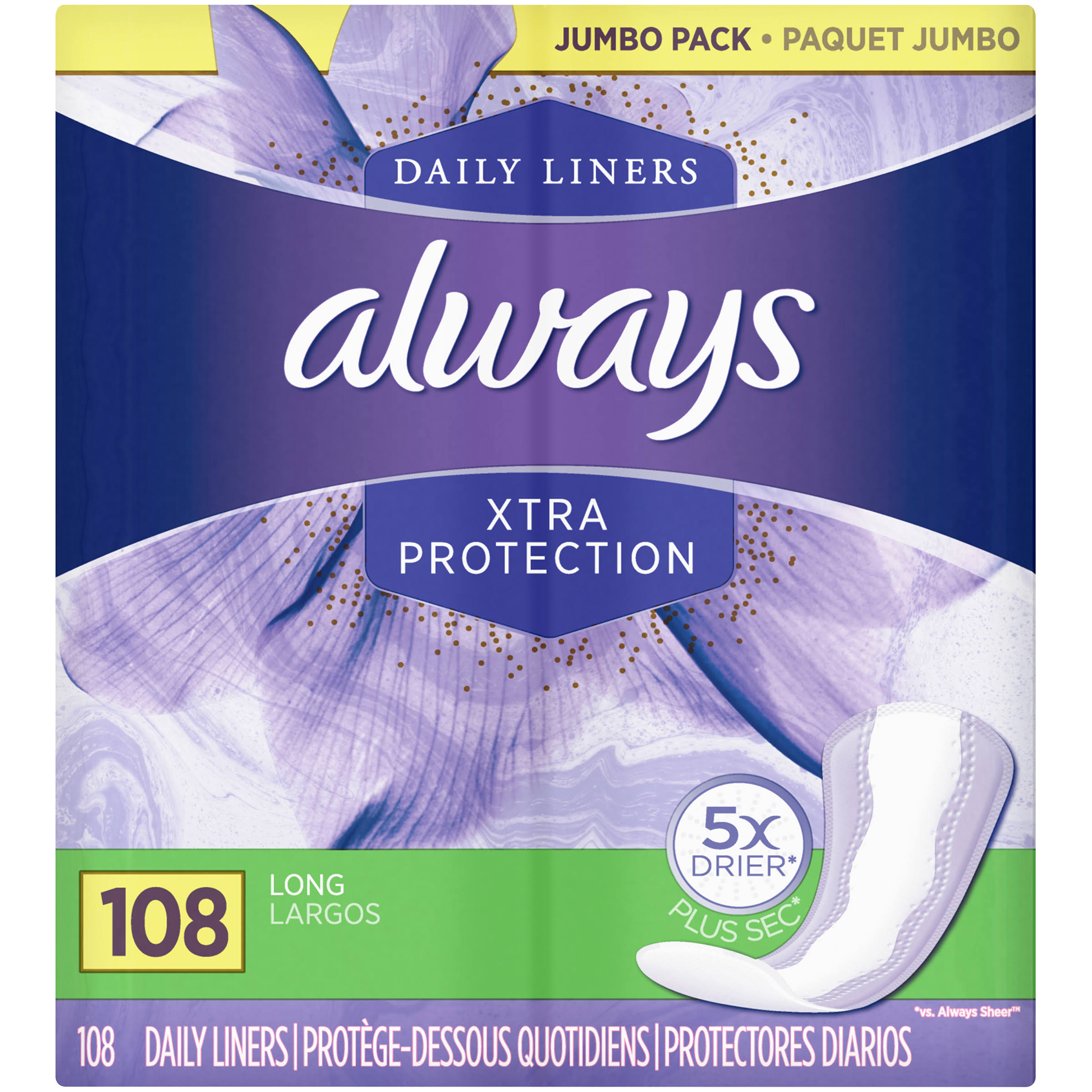 Always Dailies Xtra Protection Long Liners Jumbo Pack - 108 Pack