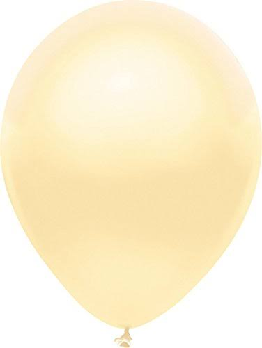 PartyMate Round Solid Color Latex Balloons - 10ct Metallic Silk Ivory, 12""