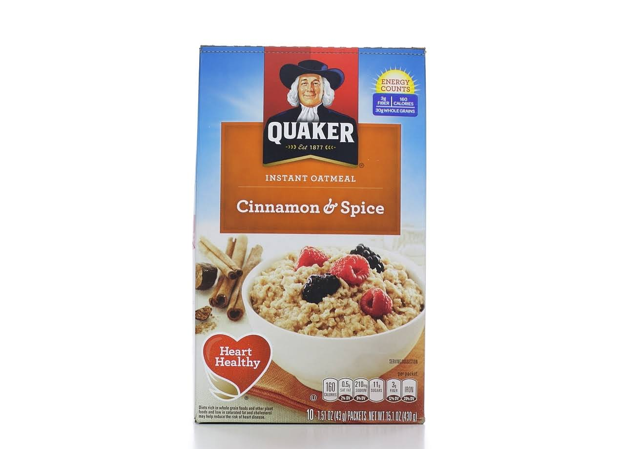 Quaker Instant Oatmeal - Cinnamon and Spice, 15.1oz