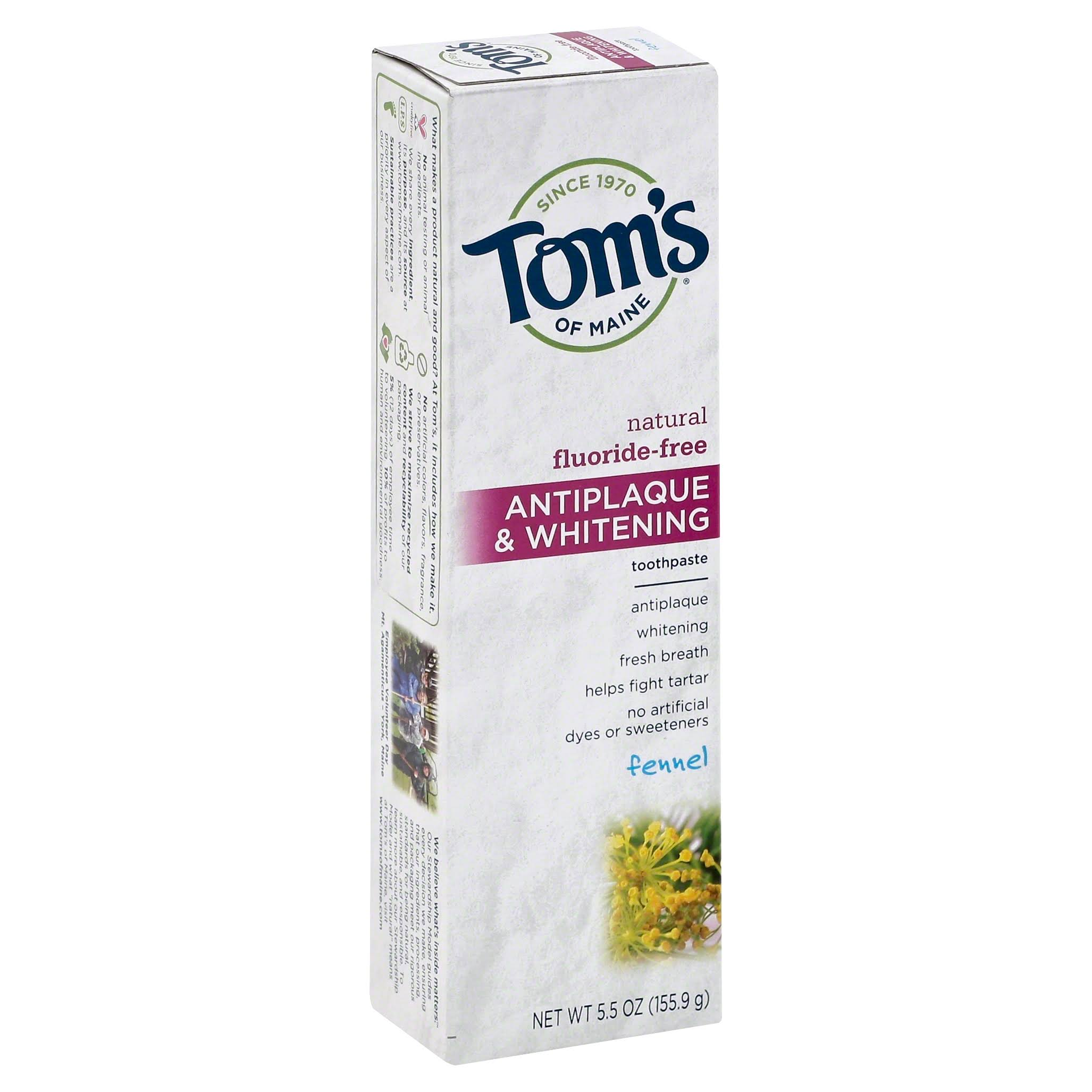 Tom's of Maine Natural Antiplaque and Whitening Toothpaste - Peppermint, 5.5oz