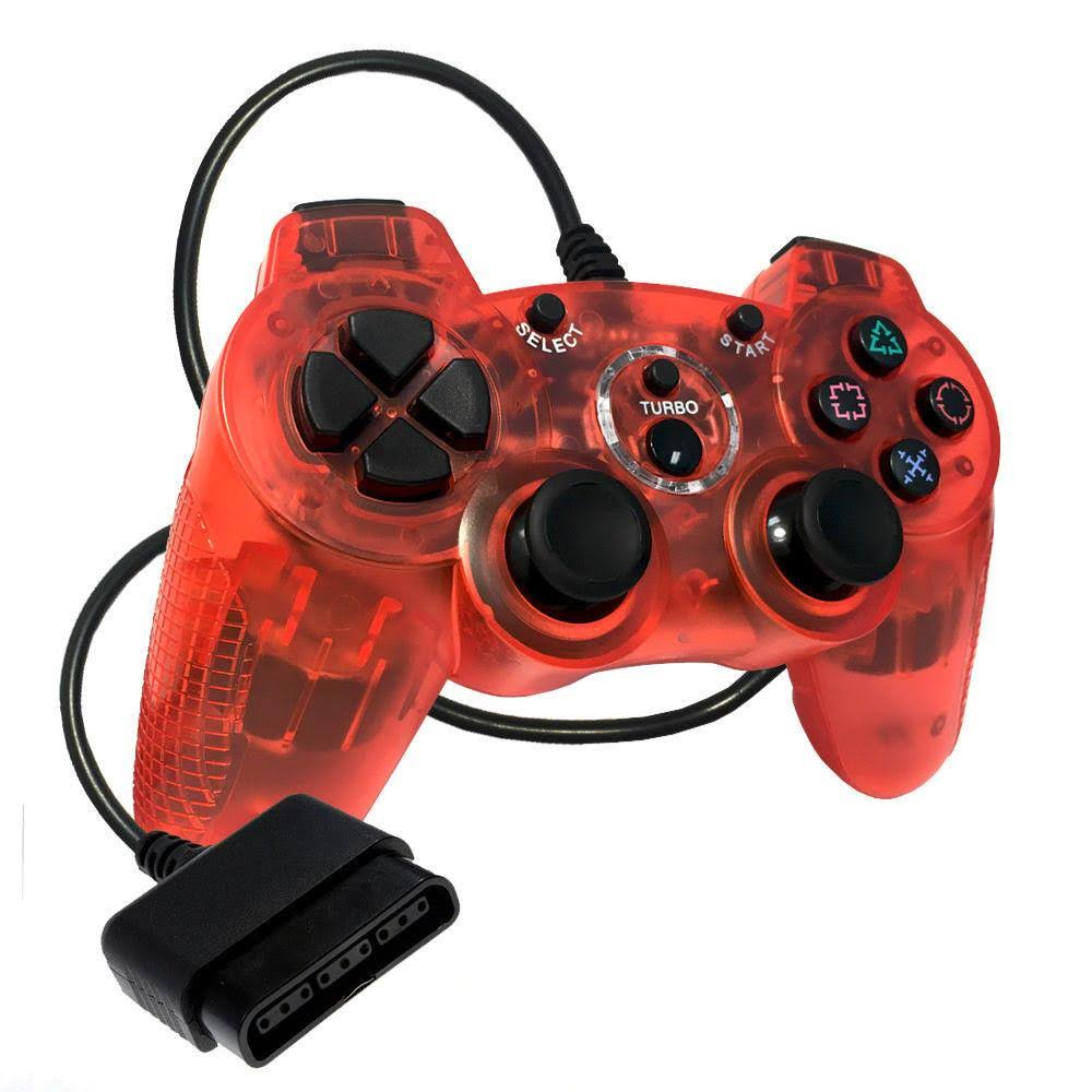Old Skool Sony Playstation 2 Double-Shock 2 Controller - Red
